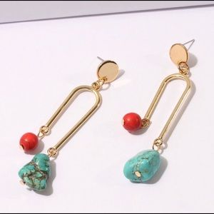 Gold turquoise red dangle earrings match necklace